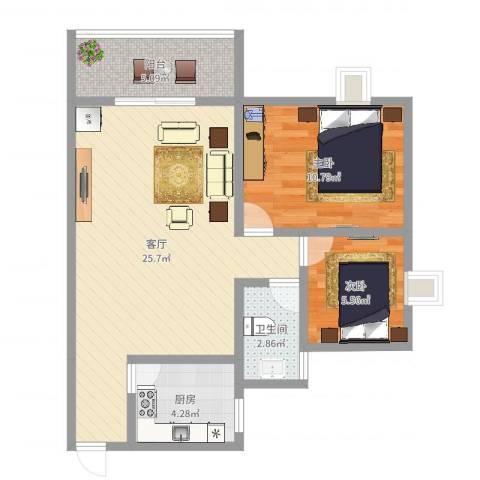 金碧花园2室1厅1卫1厨68.00㎡户型图