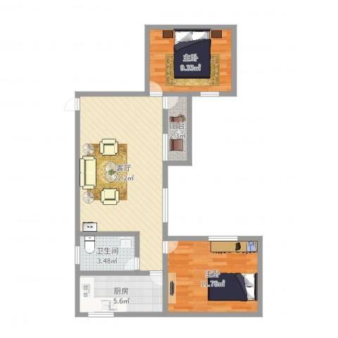 芳园居2室1厅1卫1厨68.00㎡户型图