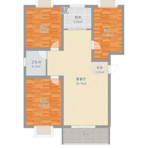 丰林花园3室2厅1卫1厨111.00㎡户型图