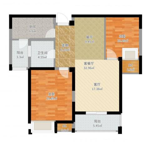 百乐广场2室2厅1卫1厨101.00㎡户型图