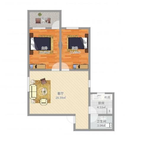 丰乐小区2室1厅1卫1厨81.00㎡户型图