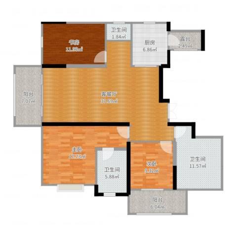 苏州世茂石湖湾3室2厅3卫1厨148.00㎡户型图