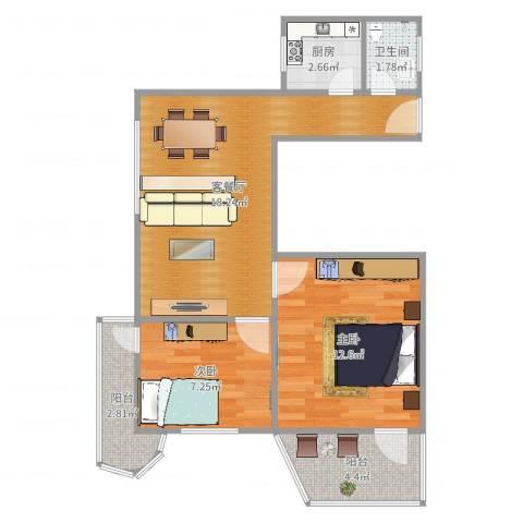 佳地新都小区2室2厅1卫1厨62.00㎡户型图