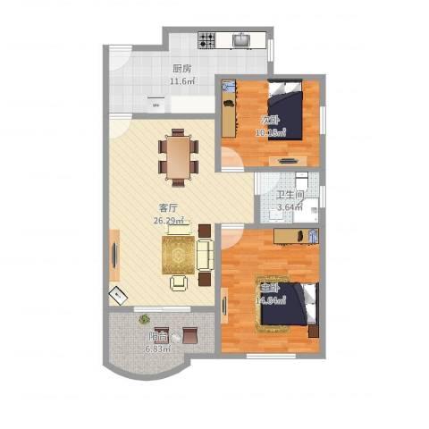 品翠苑2室1厅1卫1厨73.18㎡户型图