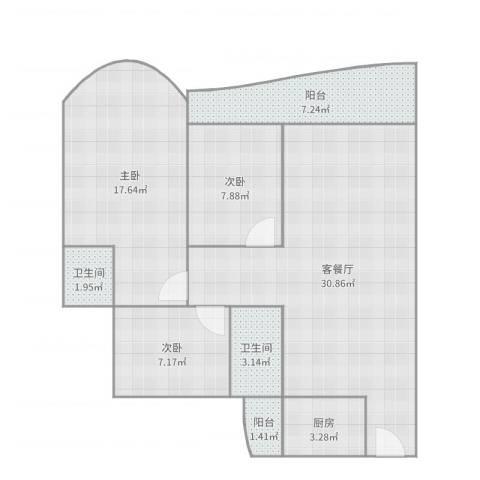 逸景翠园御景轩3室2厅2卫1厨101.00㎡户型图