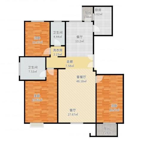 亿利城文澜雅筑3室2厅2卫1厨159.00㎡户型图