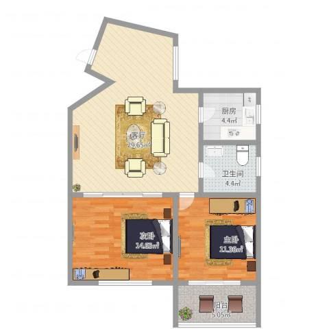 上安大厦2室1厅1卫1厨87.00㎡户型图