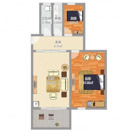 大上海国际花园2室1厅1卫1厨76.00㎡户型图