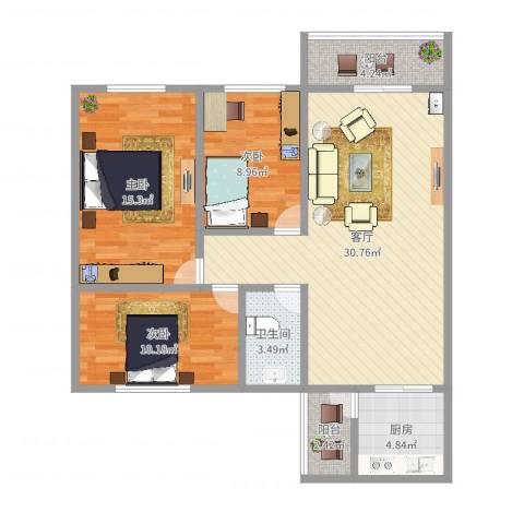 富达花园3室1厅1卫1厨100.00㎡户型图