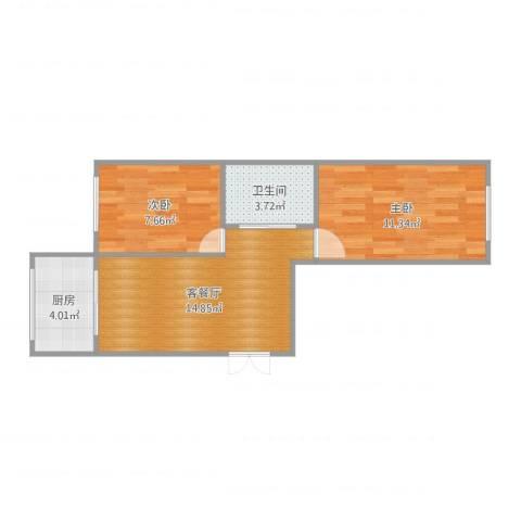 大连兴达花园2室2厅1卫1厨52.00㎡户型图
