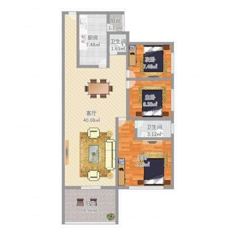 百顺台花园3室1厅2卫1厨116.00㎡户型图