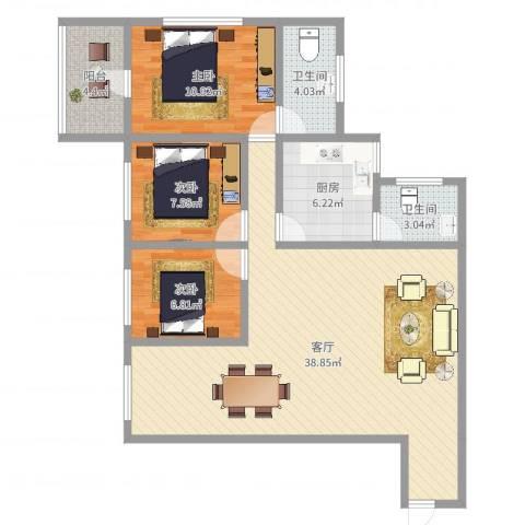 百顺台花园3室1厅2卫1厨102.00㎡户型图