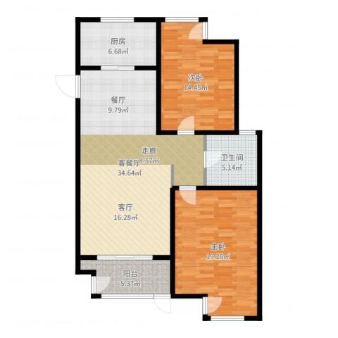 湖港名城2室2厅1卫1厨107.00㎡户型图