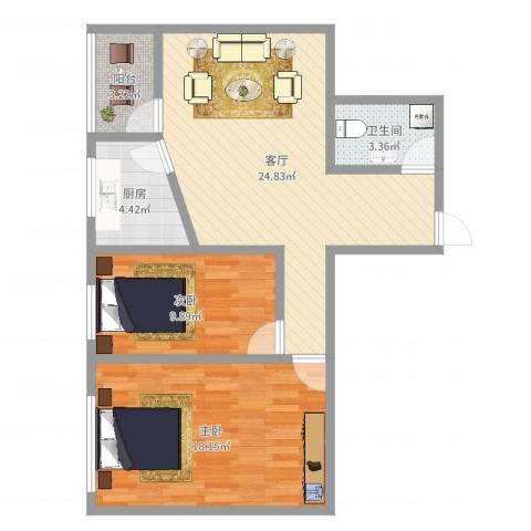 丽康居2室1厅1卫1厨80.00㎡户型图