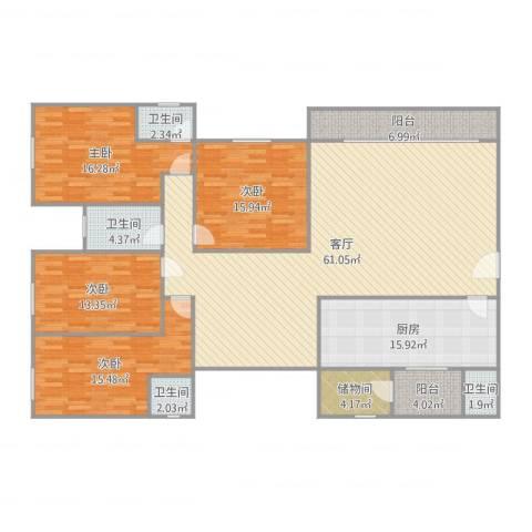 普君新城4室1厅4卫1厨205.00㎡户型图