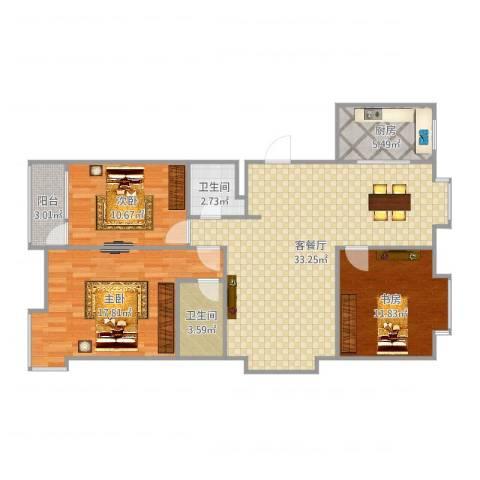 阳光逸墅3室2厅2卫1厨110.00㎡户型图
