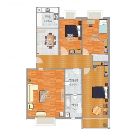 梧桐苑2室2厅2卫1厨158.00㎡户型图