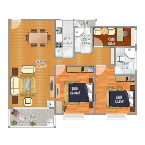 叠彩园3室2厅2卫1厨99.00㎡户型图