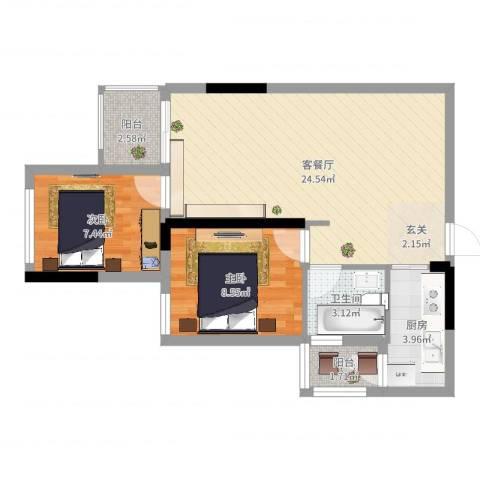 涪陵金科廊桥水岸2室2厅1卫1厨65.00㎡户型图