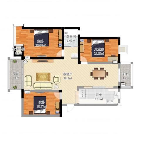 水岸枫情3室2厅2卫1厨96.96㎡户型图