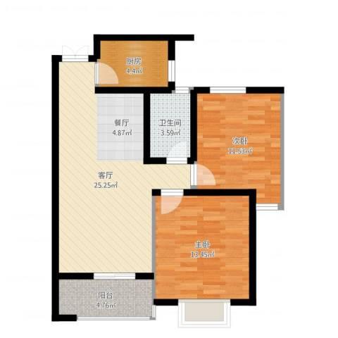 淮矿馥邦天下2室1厅1卫1厨79.00㎡户型图