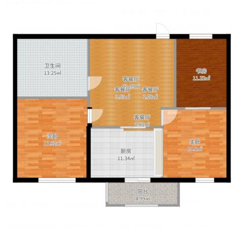 摩卡小筑3室2厅1卫1厨120.00㎡户型图