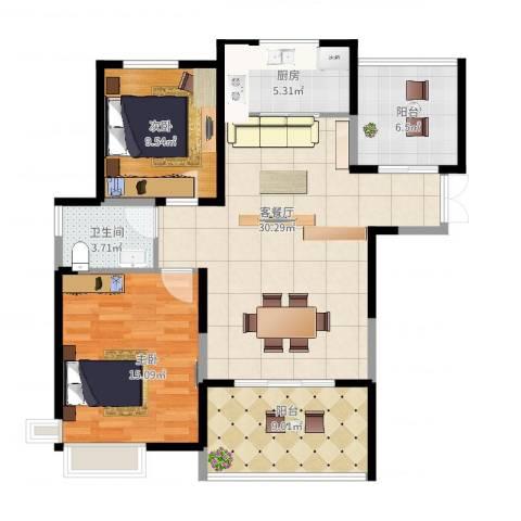 滨湖品阁2室2厅1卫1厨111.00㎡户型图