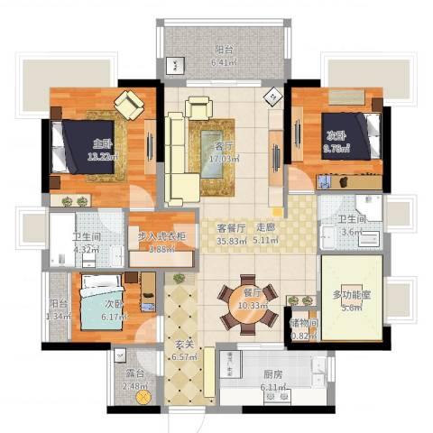 江畔豪庭3室2厅2卫1厨124.00㎡户型图