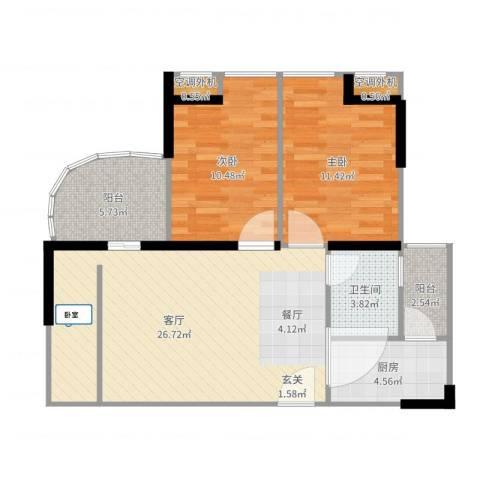 大川建博中心2室1厅3卫1厨83.00㎡户型图