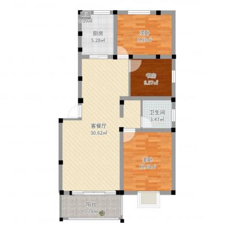 金达华府3室2厅2卫1厨91.00㎡户型图