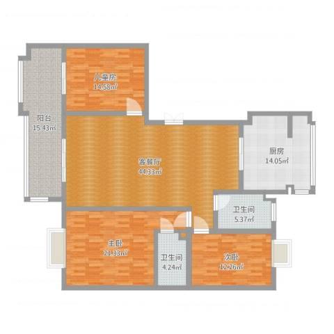 金泰花园3室2厅2卫1厨165.00㎡户型图