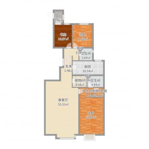 恩和家园3室2厅2卫1厨162.00㎡户型图