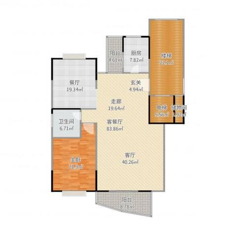 中华世纪城二期1室2厅1卫1厨204.00㎡户型图