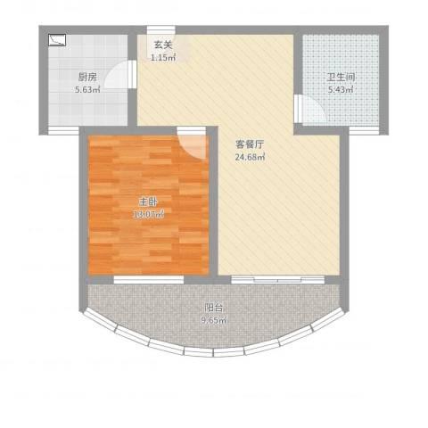 金色水岸花园1室2厅1卫1厨73.00㎡户型图