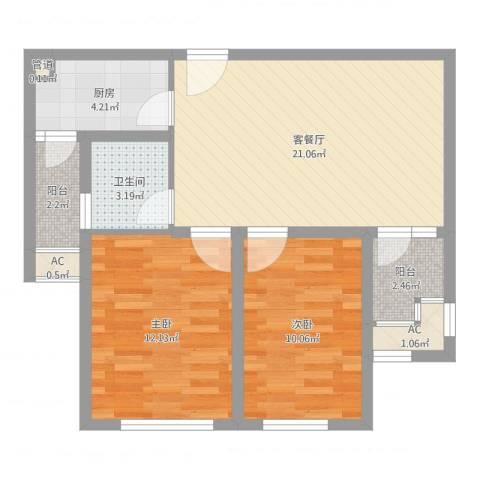华邦光明世家2室2厅1卫1厨71.00㎡户型图