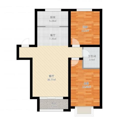 吴中家天下2室1厅1卫1厨97.00㎡户型图