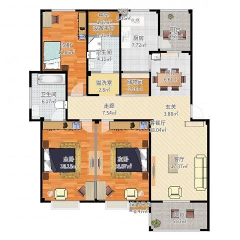 甫澄熙岸3室2厅2卫1厨145.00㎡户型图