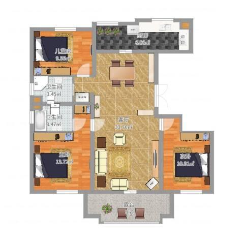 君地天城3室1厅2卫1厨115.00㎡户型图