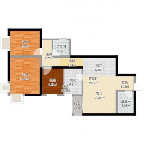 九台2000家园3室2厅2卫1厨87.00㎡户型图