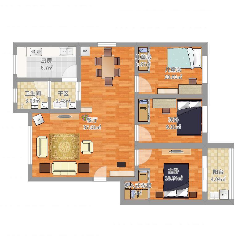岳庄小区--三室两厅120平--001
