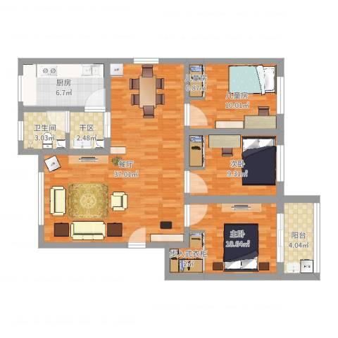 岳庄小区--三室两厅120平--0014室1厅1卫1厨109.00㎡户型图
