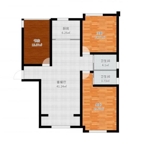 环球贸易中心3室2厅2卫1厨129.00㎡户型图