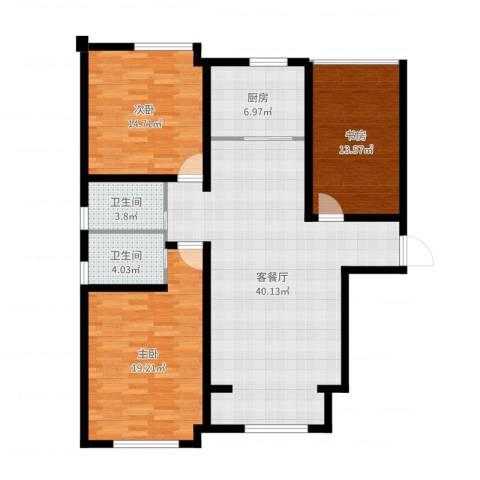环球贸易中心3室2厅2卫1厨128.00㎡户型图