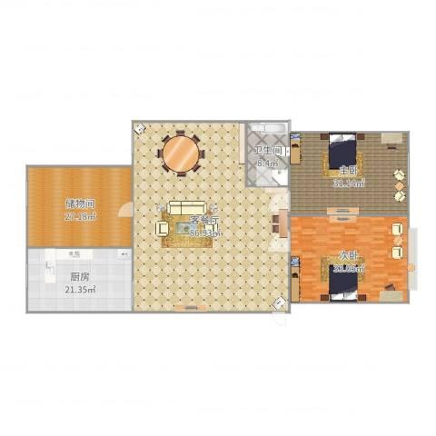 旺族雅苑2室2厅1卫1厨260.00㎡户型图