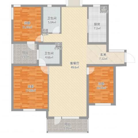 水云花园・南开区3室2厅4卫2厨147.00㎡户型图