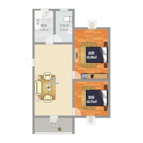 茅岗新村2室1厅1卫1厨83.00㎡户型图