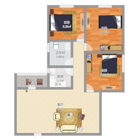 东苑小区3室1厅1卫1厨88.00㎡户型图