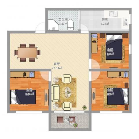 锦翠苑3室1厅1卫1厨86.00㎡户型图