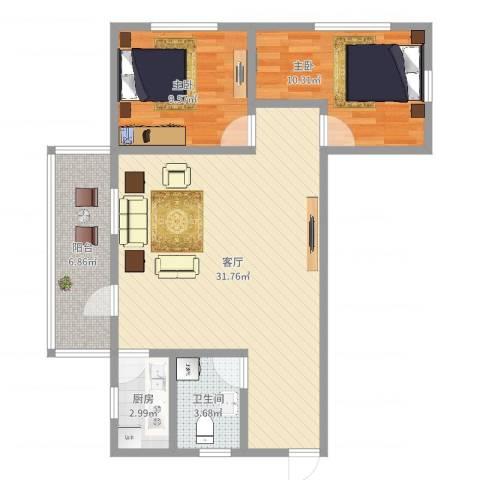芳雅苑2室1厅1卫1厨81.00㎡户型图
