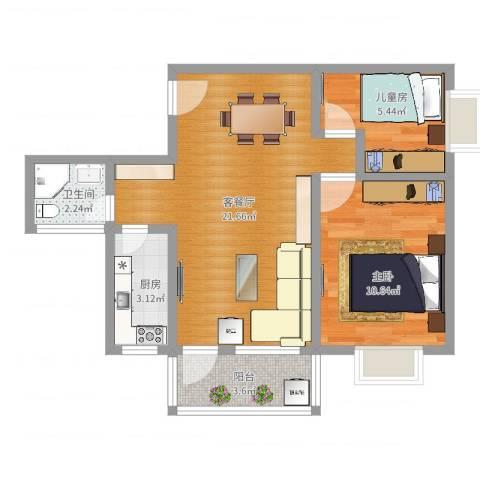 南洲路公安宿舍2室2厅1卫1厨58.00㎡户型图
